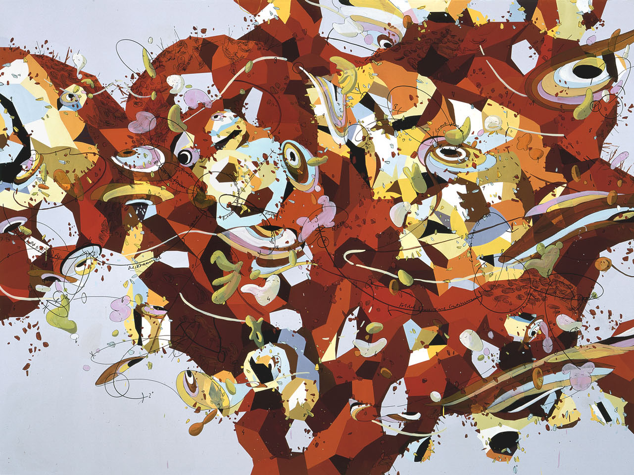 M Theory, 2000 Oil and marker on canvas 81 ¾ x 109 ¾ x ¾ inches SFMOMA Collection, Gift of the artist