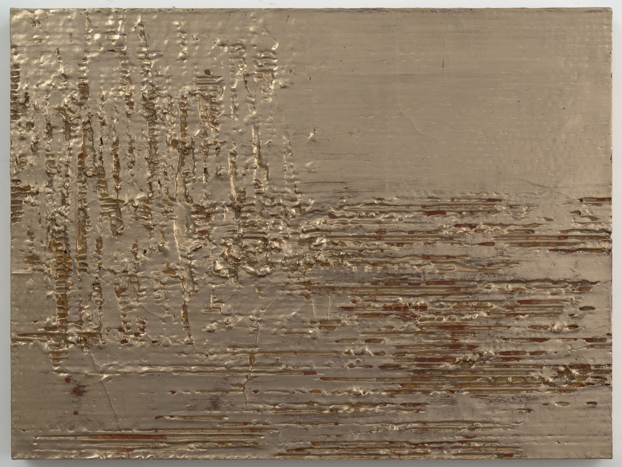Nancy Lorenz, Moon Gold Cardboard (I), 2013, Cardboard, Clay, Resin On Panel, 18 x 24 in.
