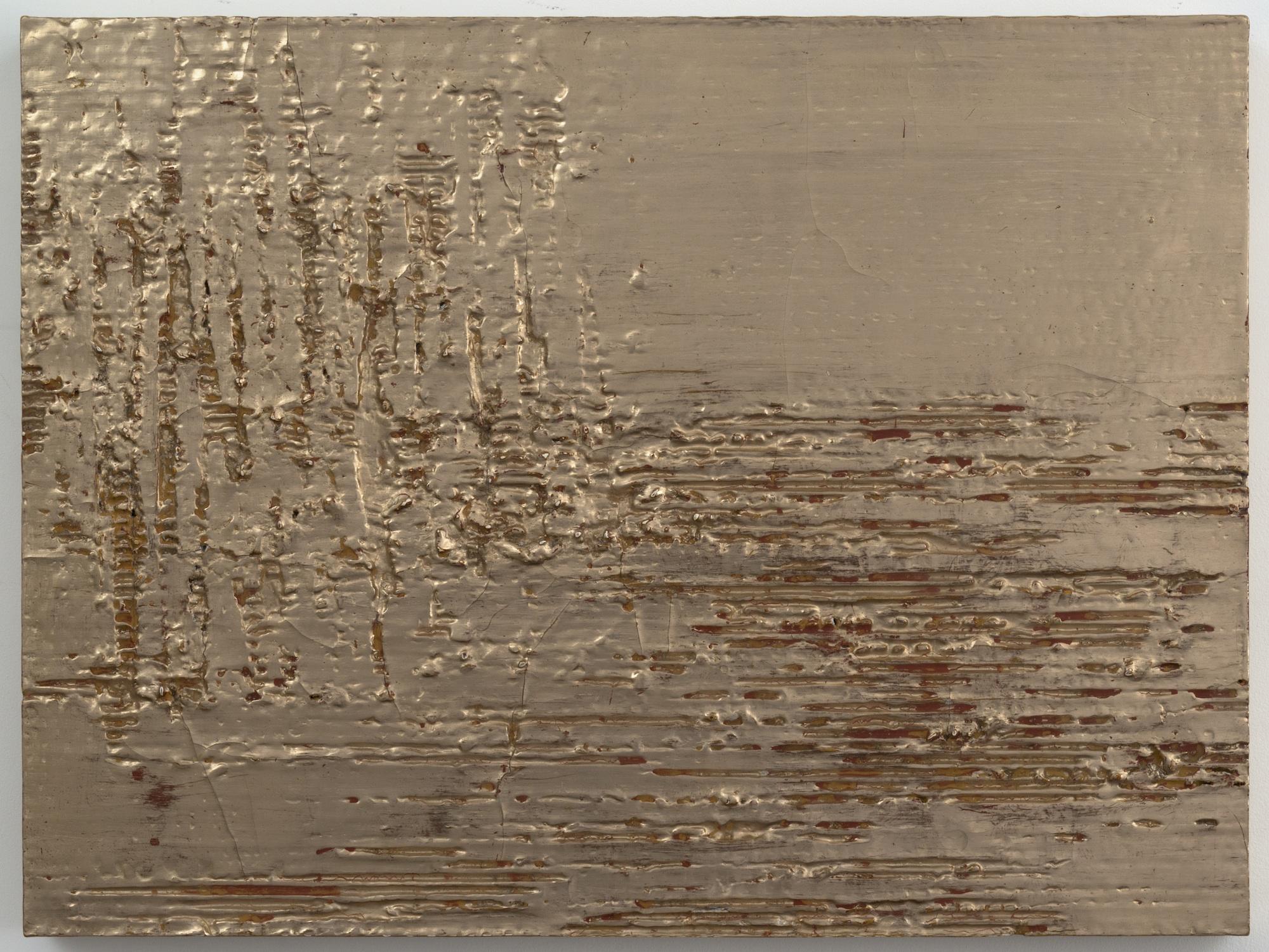 Nancy Lorenz, Moon Gold Cardboard (I),2013, Cardboard, Clay, Resin On Panel, 18 x 24 in.
