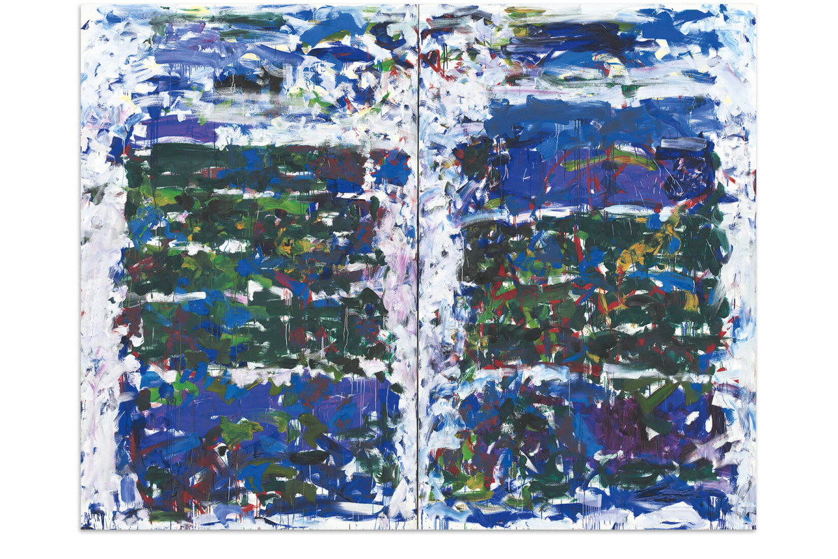 """A diptych painting entitled """"Champs"""", from 1990 by artist Joan Mitchell"""