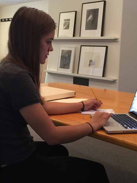 Student working at The Jay DeFeo Foundation, 2016.
