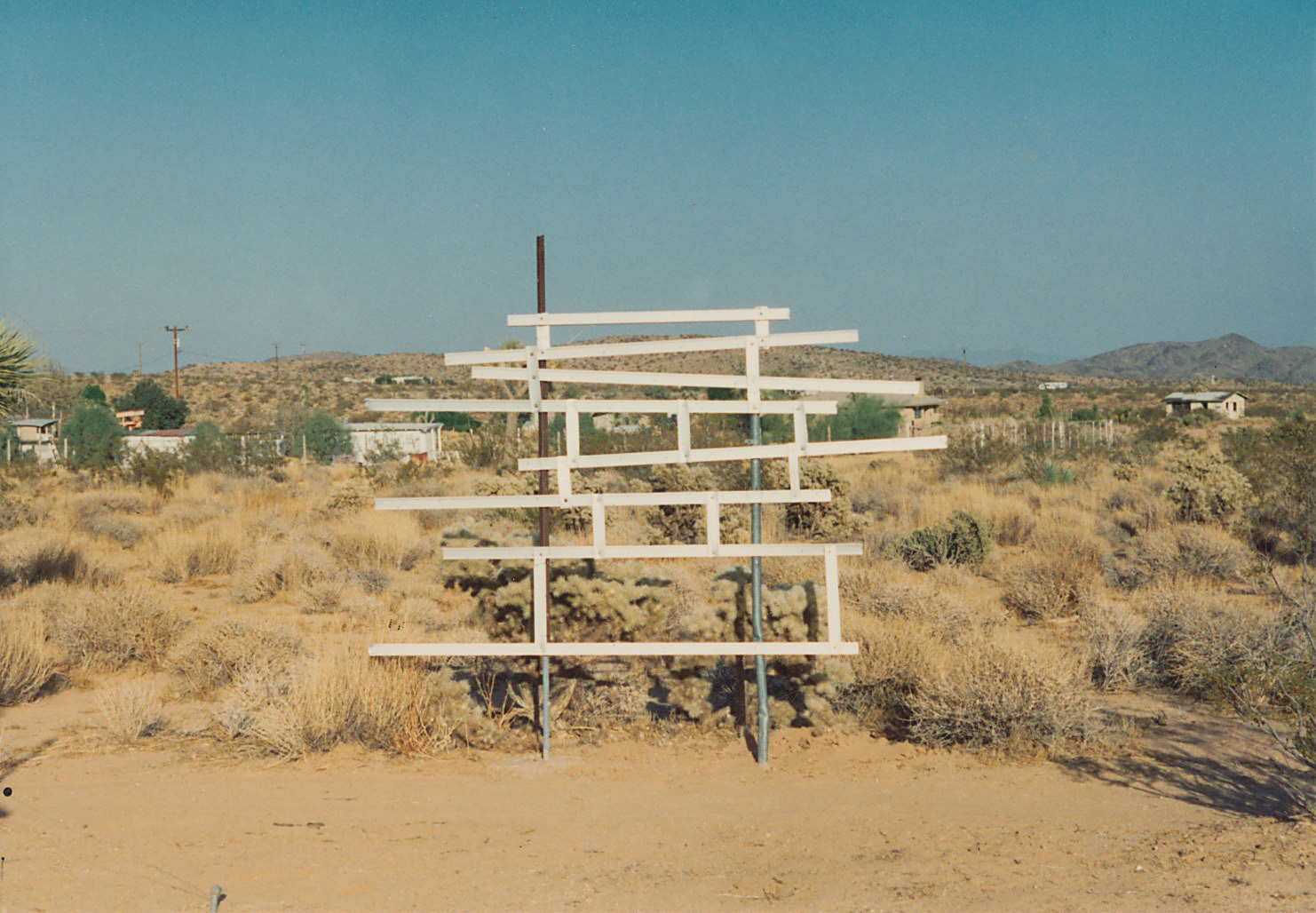 Noah Purifoy, Untitled (Sculpture Design in A Mondrian Fashion), 1992, mixed media, 6 x 8'. Photograph courtesy of the Noah Purifoy Foundation