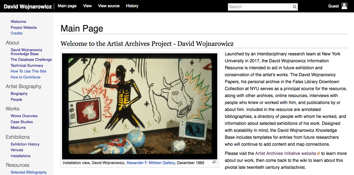 Welcome page for the David Wojnarowicz Knowledge Base