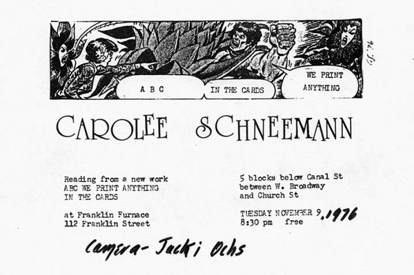 """Announcement, Carolee Schneemann reading event for """"ABC We Print Anything,"""" 1976. Courtesy of Franklin Furnace"""