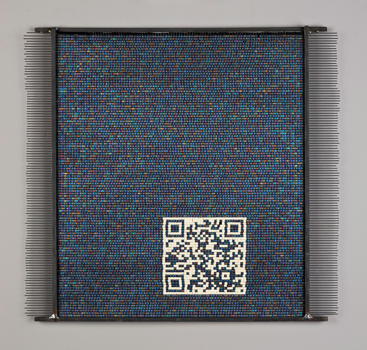 Autoimmune Response: South, weaving with QR code. Will R. Wilson (Diné [Navajo], b. 1969), Auto Immune Response: Weaving the Sacred Mountains, 2011–12. Funds from Polly and Mark Addison and Native Arts acquisition fund, 2013.4.1–4 ©Will R. Wilson