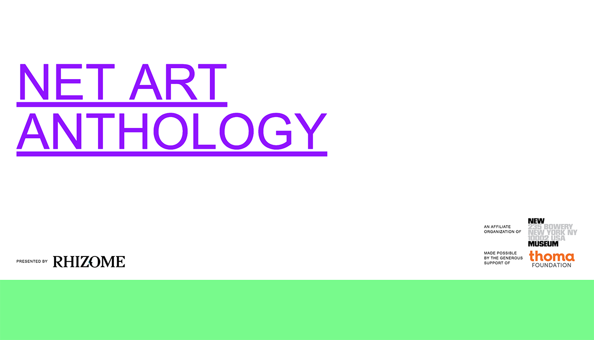 Homepage of the Net Art Anthology