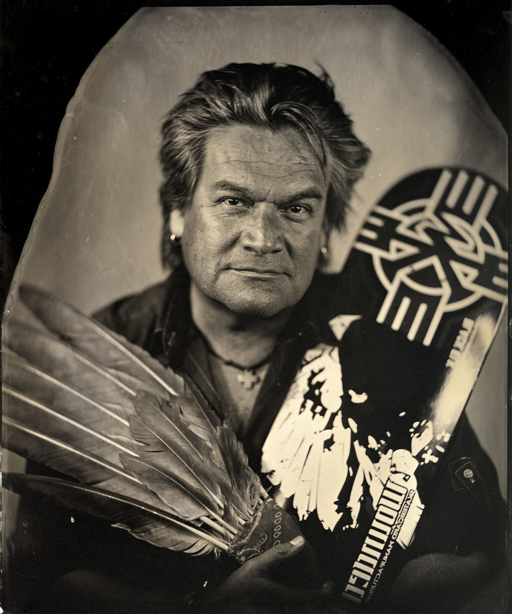 Will R. Wilson (Diné [Navajo], b. 1969), Walt Pourier, citizen of Oglala Nation, Founder of the Stronghold Society, Critical Indigenous Photographic Exchange, Denver Art Museum, 2013 Tintype photograph on aluminum plate ©Will R. Wilson