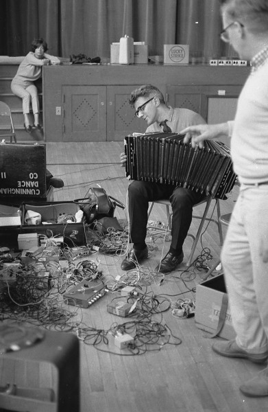 Fred Waldhauer stand with David Tudor, who is working with elements of his sound system for his 9 Evenings work, Bandoneon!, at a technical rehearsal September 1966. Photo Franny Breer.