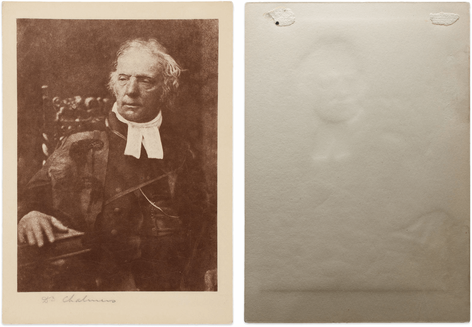Photograph of Dr. Chalmers, Recto and verso, 1843/46