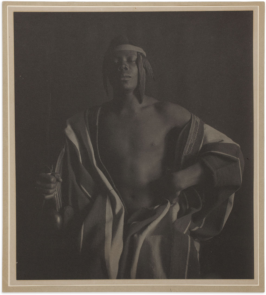 Recto, with original mount; F. Holland Day (American, 1864–1933); An Ethiopian Chief, 1897, printed c. 1902 [?]; platinum print; 21 x 18.6 cm (image/paper); 21.8 x 19.5 cm (primary support); 22 x 19.7 cm (secondary support); 22.8 x 20.7 cm (tertiary support); 45.7 x 35.5 cm (quaternary support), Art Institute of Chicago, Alfred Stieglitz Collection, 1949.858