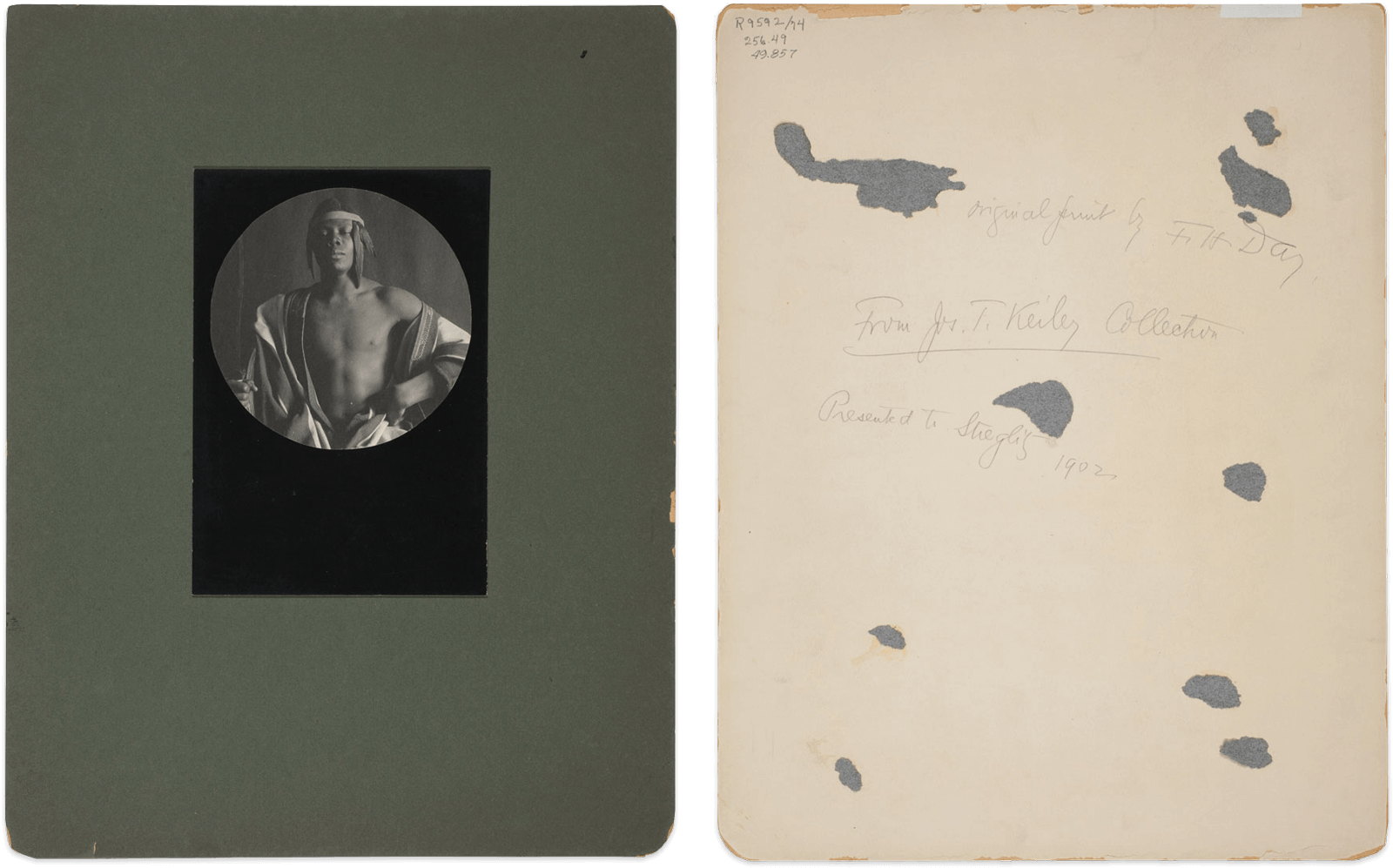 """F. Holland Day, """"Ethiopian Monarch"""", Recto and verso with original mount, 1897,"""