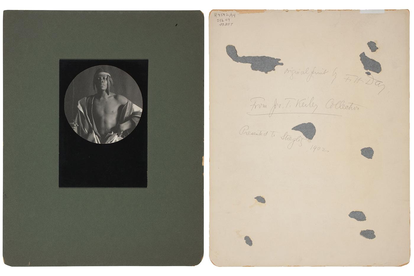 Recto and verso of a 1902 photograph of an Ethiopian Monarch