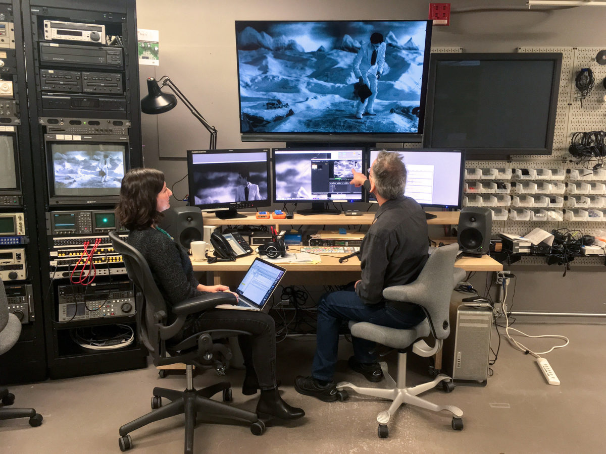 The viewing station in the Guggenheim's time-based media conservation lab