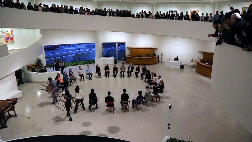 """Amalia Pica's""""Asamble"""" performed at the Solomon R. Guggenheim Museum in May 2017"""